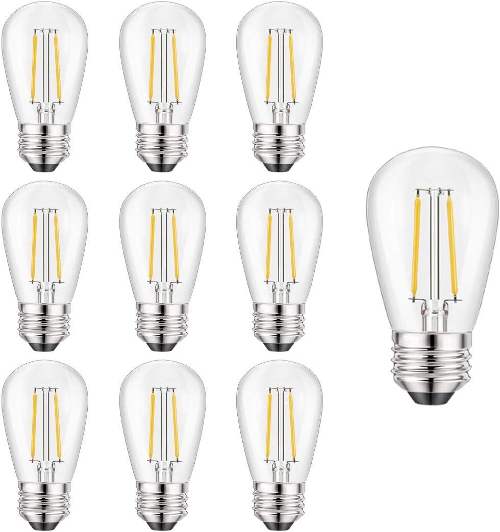 Abeja Shatterproof Replacement Bulbs S14 LED Edison Bulbs 10pk, 2W, 120V, E26 Socket BSE, Commercial Quality Patio Light for Deck Backyard Porch Balcony Bistro Cafe Pergola Garden Decor, Warm White