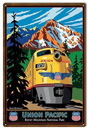 (Dark Branches Union Pacific Tin Sign, Union Pacific Reproduction Railroad Metal Sign, 8