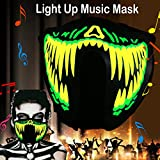 robot mask - flashingworld Music LED party Mask with sound active for dancing,riding,skating,party and any festival (green teeth)
