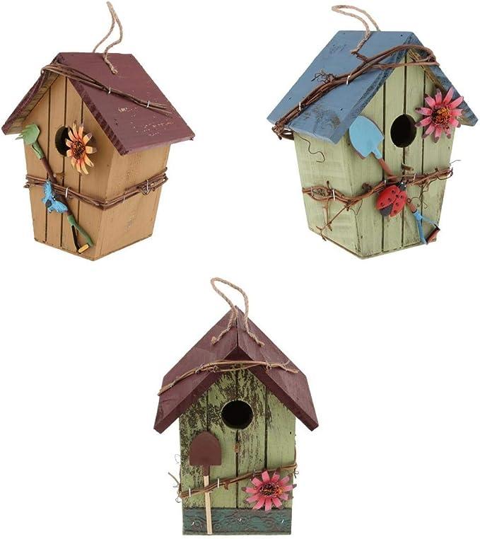 F Fityle Conjunto De 3 Decoraciones Exteriores De Pajarera De Madera para Jardín, Patio, Terraza, Porche: Amazon.es: Productos para mascotas