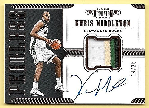 17/18 Dominion Peerless Bronze Khris Middleton 3 Color Patch Autograph #14/25