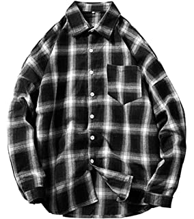 WSPLYSPJY Mens Classic Cotton Flannel Plaid Dress Shirt Western Button Down Shirts