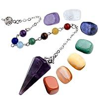 JSDDE 7 Chakra Healing Crystal Tumbled Palm Stones and Natural Amethyst Dowsing Pendulum Reiki Balance Meditation Jewelry Sets(Faceted Pendulum#2)