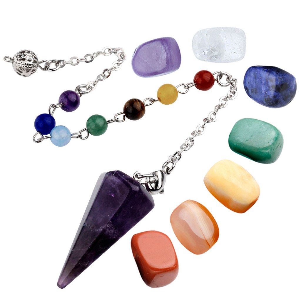 Top Plaza 7 Chakra Healing Crystal Tumbled Palm Stones Natural Amethyst Dowsing Pendulum Reiki Balance Meditation Jewelry Sets(Faceted Pendulum#2)
