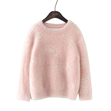 6f4bccb5696 4-14 Years Old Girls Long Sleeve O-Neck Pink Elegant Fluffy Short Pullover