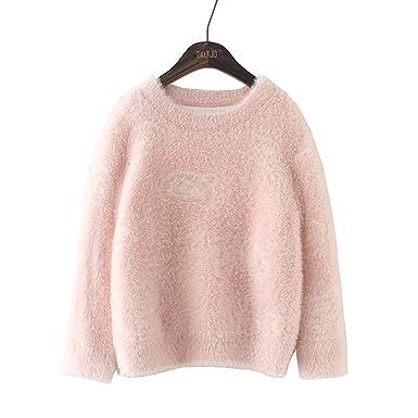 61e29686b863 Amazon.com  4-14 Years Old Girls Long Sleeve O-Neck Pink Elegant ...