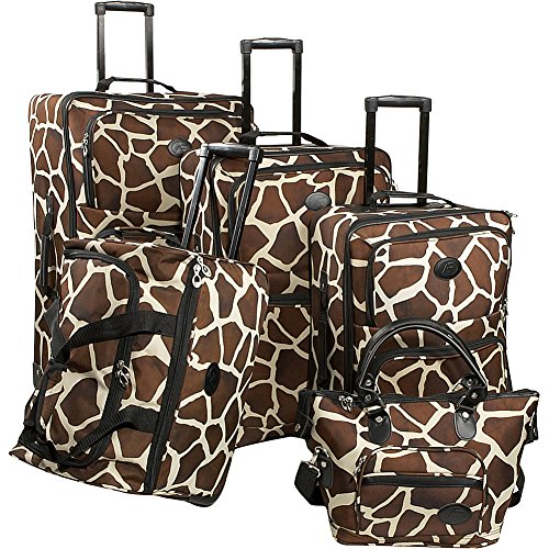 American Flyer Luggage Animal Print 5 Piece Set, Giraffe Brown, One Size by American Flyer