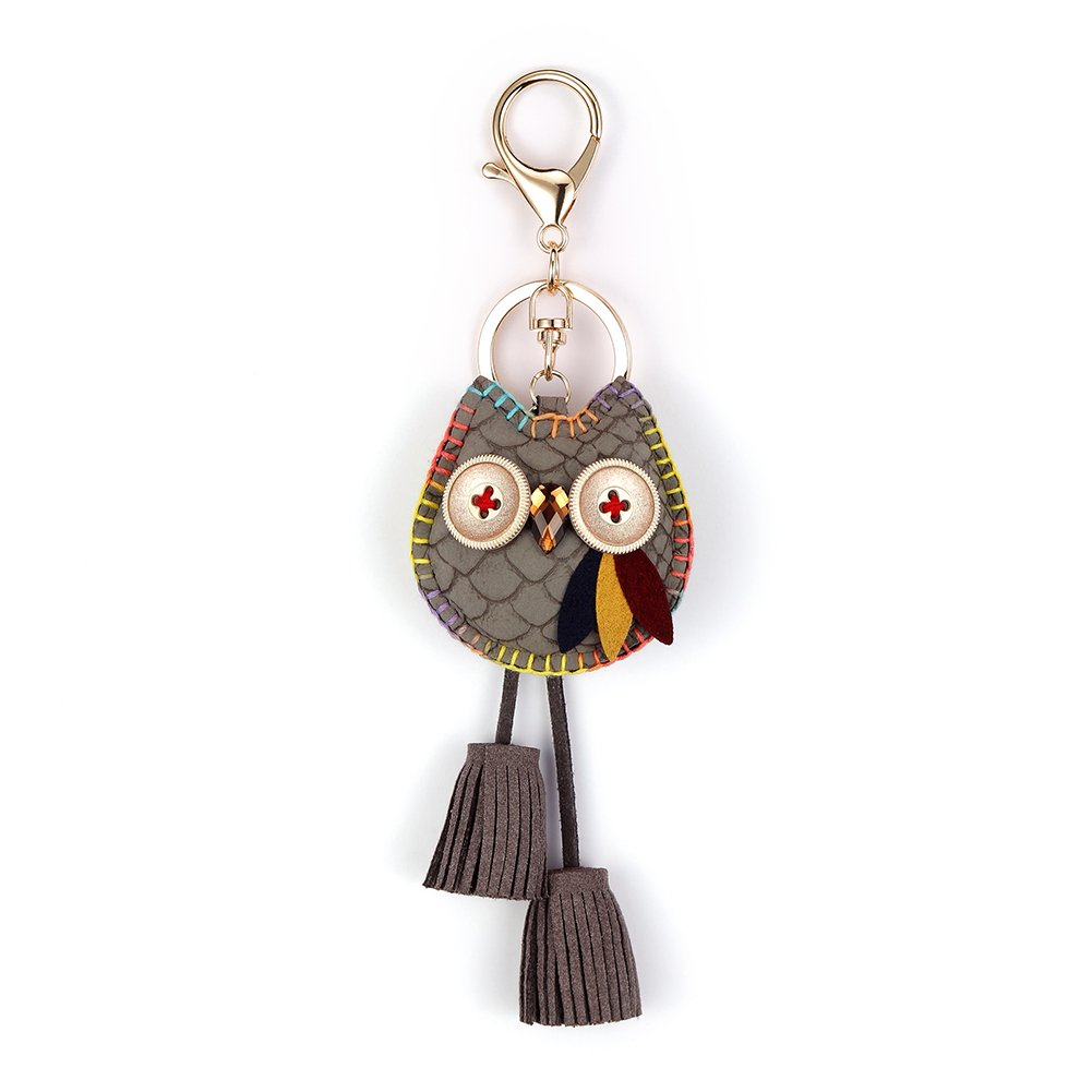 Owl Key Ring Chain, Nikang Handmade Leather Key Holder Metal Chain Charm With Tassels, Tassel Key Chain, Handbag Accessories, Fashion Item, Car Key Chain, Idea for Woman, Grey Brown