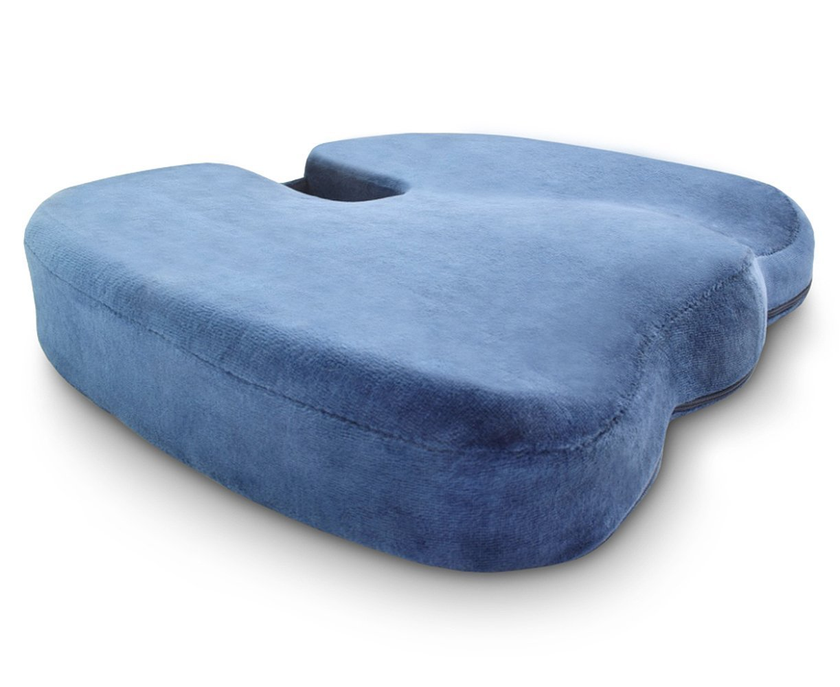 Crafty World Comfy Pro Seat Cushion - Blue Supportive Orthopedic Ergonomic Firm Memory Foam - Suitable for Office Chairs, Wheelchairs, Cars, Trucks and More - Extra Removable Washable Cover Included by Crafty World