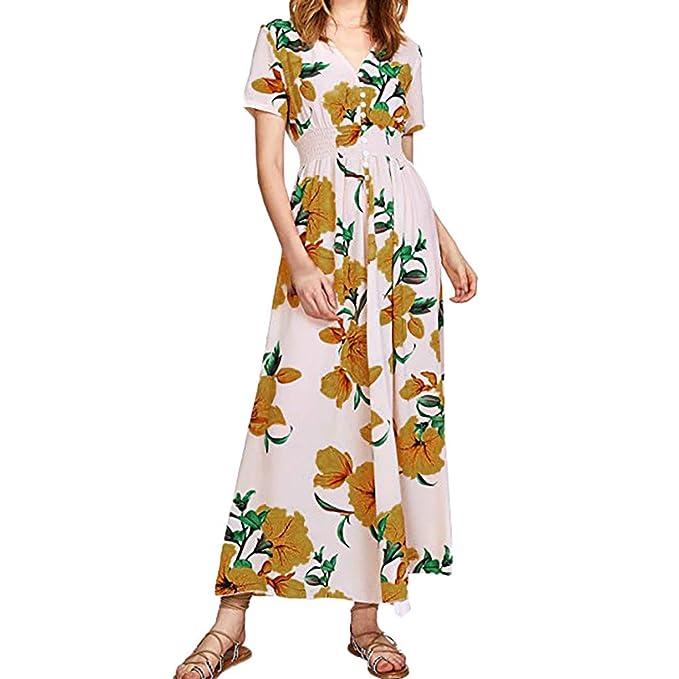 960e71b2107259 friendGG❤❤Damen Kleid, SommerKleid,Frau Kurzarm Knopf Drucken Kleid Chiffon  rock V-Ausschnitt Kleid Lose Kleid StrandKleid Partykleid Cocktailkleid ...
