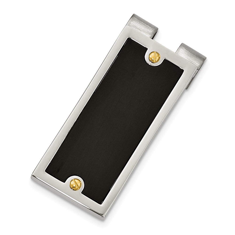Brilliant Bijou stainless-steel Polished Yellow /& Black IP-plated Money Clip