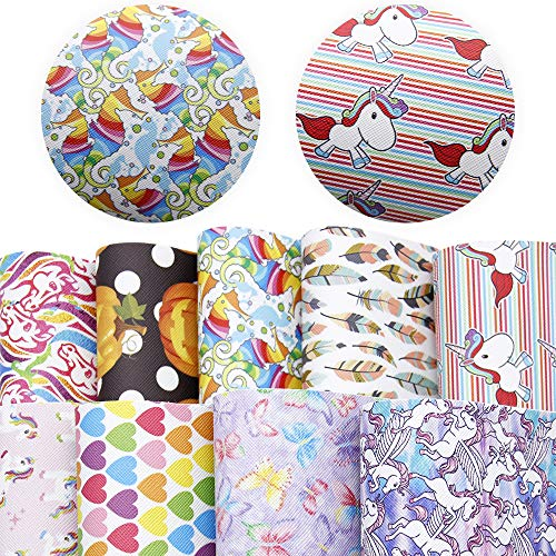 David accessories Unicorn Animal Printed Faux Leather Sheets Synthetic Leather Fabric 9 Pcs 8