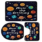 3 Piece Bath Mat Rug Set,Quote,Bathroom Non-Slip Floor Mat,Outer-Space-Planets-and-Star-Cluster-Solar-System-Moon-and-Comets-Sun-Cosmos-Illustration,Pedestal Rug + Lid Toilet Cover + Bath Mat,Multi