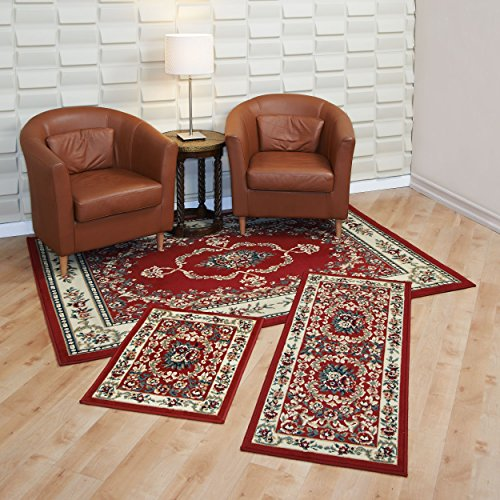 Achim Home Furnishings Capri 3-Piece Rug Set, Savonnerie - Red