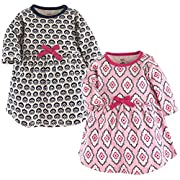 Touched by Nature Baby Girls 2-Pack Organic Cotton Dress, Trellis, 0-3 Months