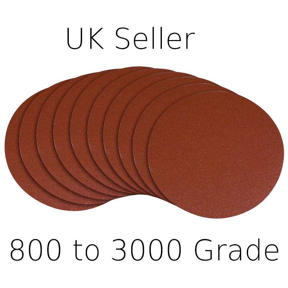 5' 800 1000 1500 2000 3000 Grit Sanding Discs Pads Hook Loop Orbital Sandpaper (3000 Grade (5 Pack)) Explore Crafts