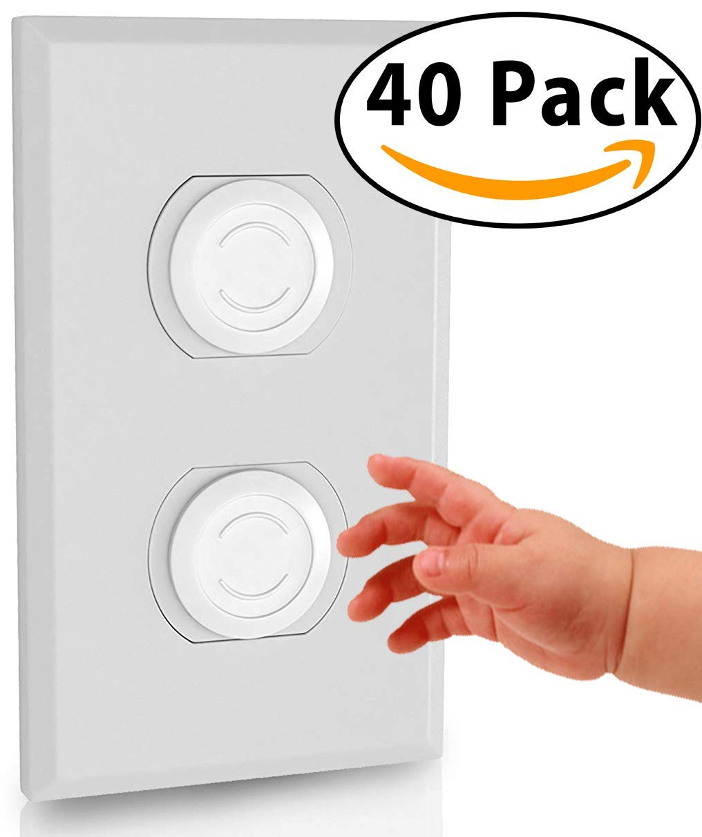 40 Pack Outlet Plugs Covers [Protect Your Child] Child Proof - Best Safety Electrical Power Socket Plug Wall Cover Protector - Plastic Baby Proofing Caps [Perfect FIT] White (40 Pack) LeftPro