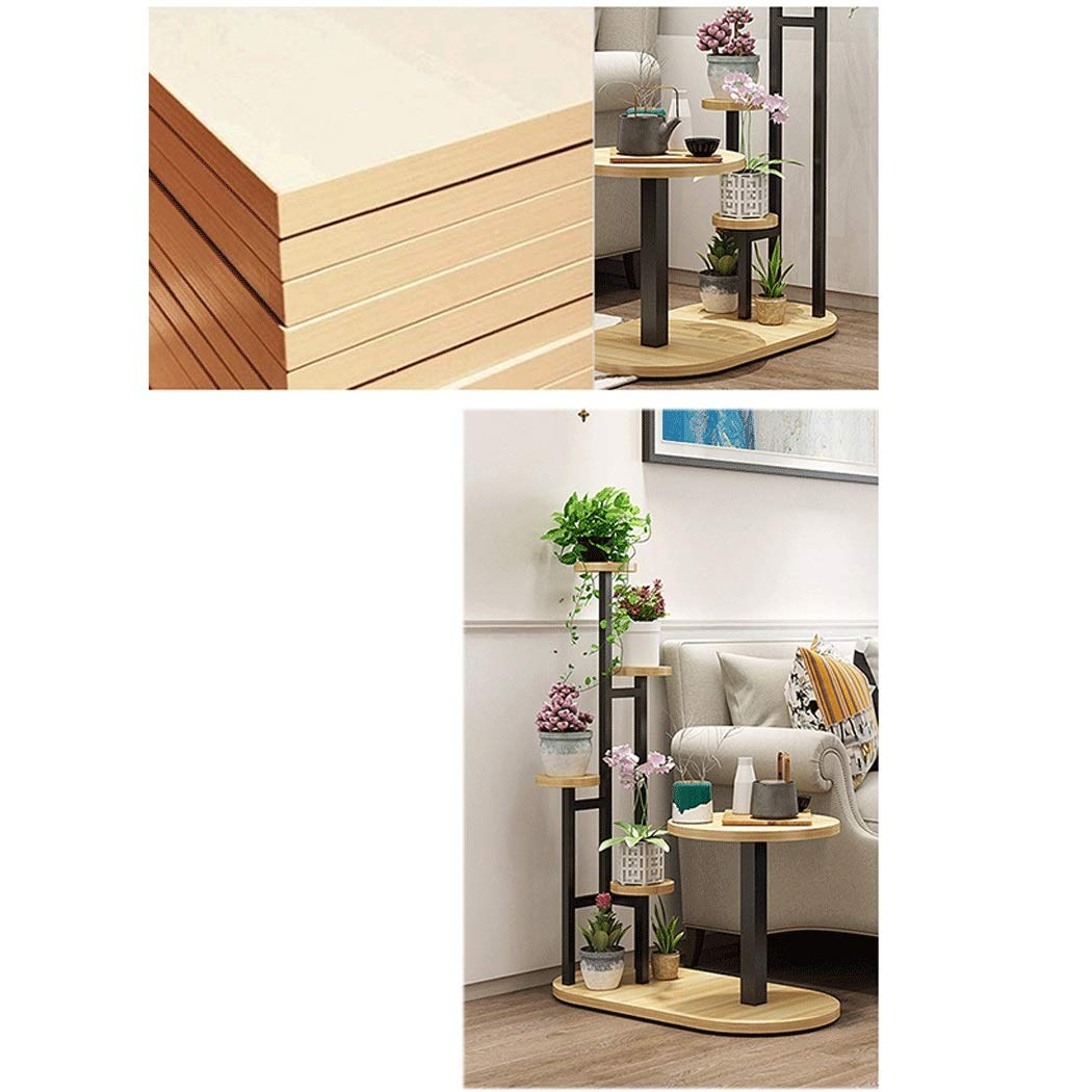 Flower Shelf Sofa Side Combination Shelf Creative Coffee Table Multi-layer Indoor Space Sofa Side Several Combination Racks Wrought Iron Flower Pot Rack ( color : Black Frame+Light Walnut Swatch ) by YONGYONG (Image #4)