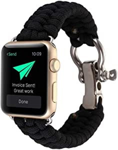 CMDFOO Compatible for Apple Watch Band 42mm 44mm, Wristband Loop Replacement Band for Iwatch Series 5,Series 4,Colorful,Nylon Rope Wrist Strap (Black)