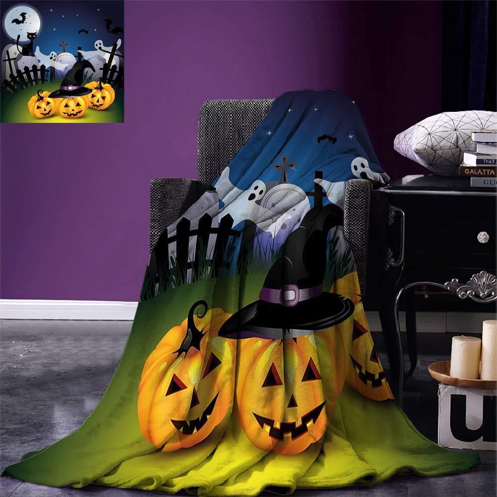 color13 62\ VAMIX Halloween Warm Microfiber All Season Blanket Funny Cartoon Design with Pumpkins Witches Hat Ghosts Graveyard Full Moon Cat Print Artwork Image£¬Multicolor, Multicolor, Blanket
