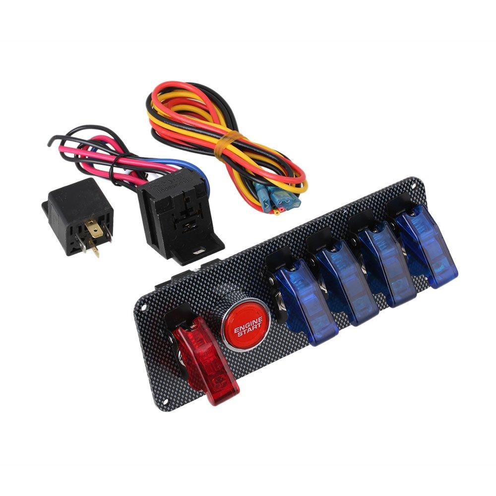Interruttore di accensione BQLZR 12 V CC + pannello con 4 pulsanti blu e 1 rosso per avviamento motore per auto da corsa BQLZRN20800