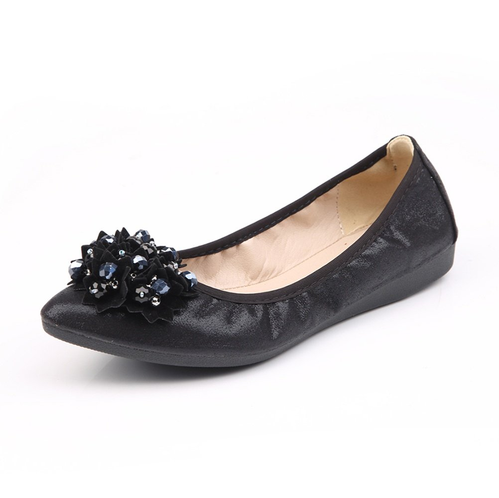 Meeshine Womens Foldable Soft Pointed Toe Ballet Flats Rhinestone Comfort Slip on Flat Shoes (7 B(M) US, Black 03)