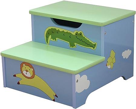 Escalera infantil con almacenamiento de madera, diseño animales – Dim: H 25.5 x l 35 x 32 cm – pegane-: Amazon.es: Hogar