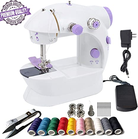 Portable Mini Sewing Machines for Beginner 2-Speed Double Thread Handheld Sewing Embroidery Machine Straight Sewing Sewing Machine