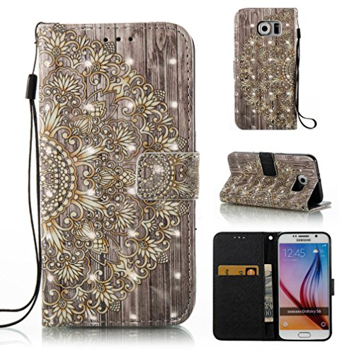Galaxy S6 case,FlREFlSH Durable Card Holder Dust-Proof ,Anti-Scratches Stylish Leather Wallet Cover 3D Painted Magnetic Snap Closure Kickstand Cash Card Holder for Samsung Galaxy S6-Golden Flower ()