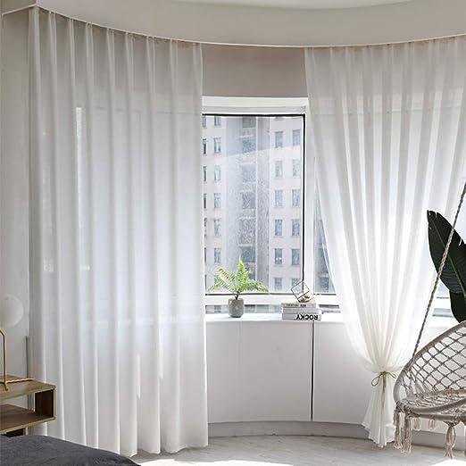 JH&MM Cortinas de Tul de algodón y Lino Pantallas Blancas Cortinas de Dormitorio de Sala de Estar de Color sólido,Punch,4.0 * 2.7: Amazon.es: Hogar