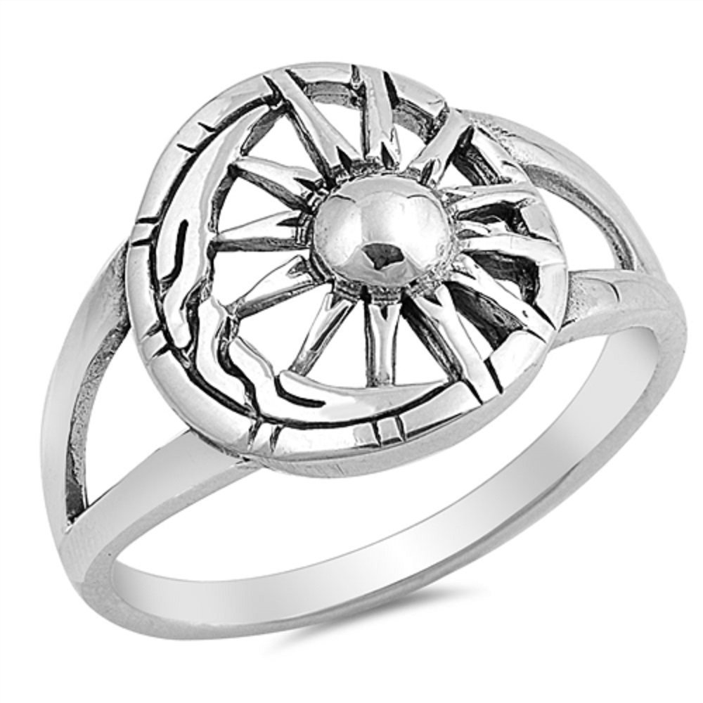 Oxidized 925 Sterling Silver Moon And Sun Designer Ring Size 10