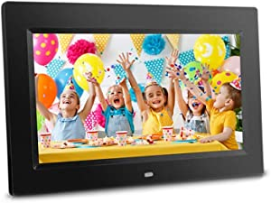 """Sonicgrace 10"""" Digital Photo Frame with Remote Control, 16:9 LCD Screen, Slide Show, Plug and Play, SD Card USB Flash Drive, Built in Calendar and Clock, Wall mountable,Great idea"""