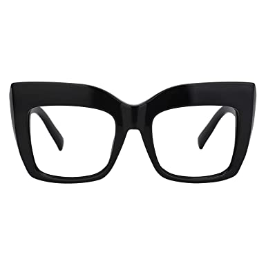 3781d0f58d Zeelool Vintage Oversized Thick Cat Eye Glasses for Women with Clear Lens  Alberta FP0668-01