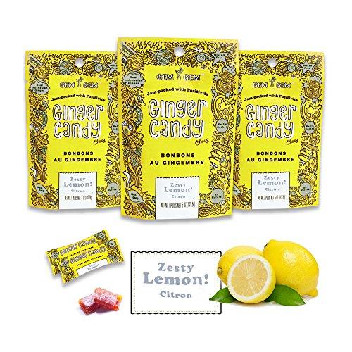 Gem Gem Ginger Candy Chewy Ginger Chews (Lemon, 5.0oz, Pack of 3)