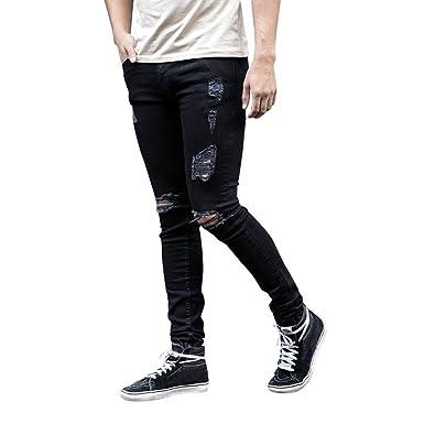 576cd0957 OHQ Le Trou des Hommes DéChiréS Jeans Pieds Pantalons Noir Bleu ...