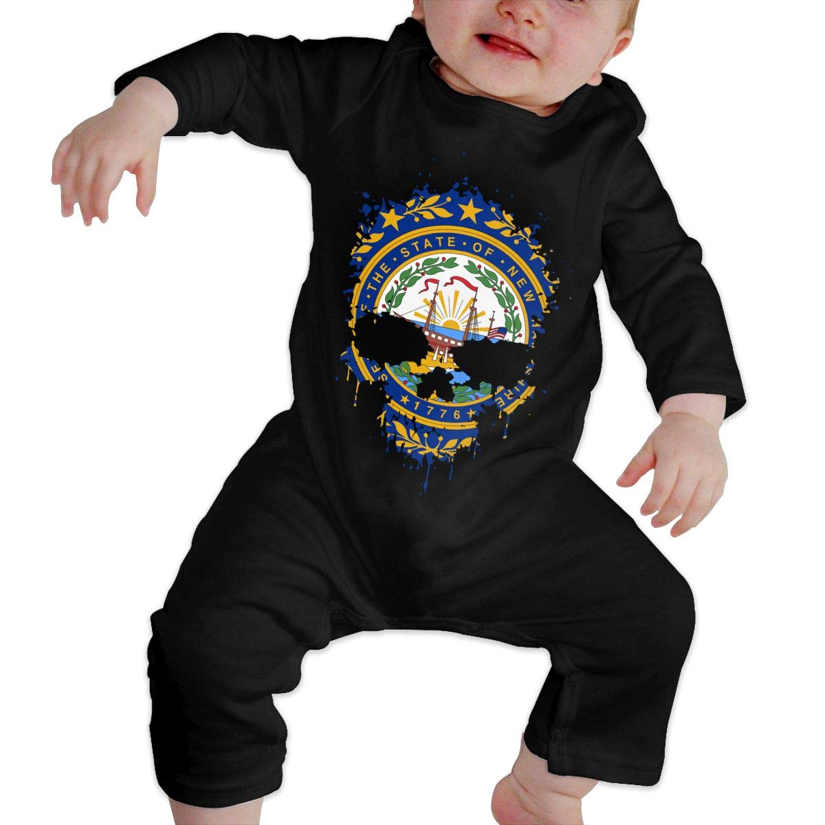 Mri-le1 Baby Girls Jumpsuit New Hampshire State Flag Splatter Skull Toddler Jumpsuit