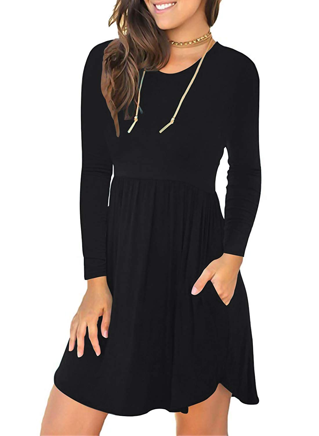 Black HUSKARY Womens Vintage Patchwork Pockets Long Sleeve Swing Casual Party Dress OX165