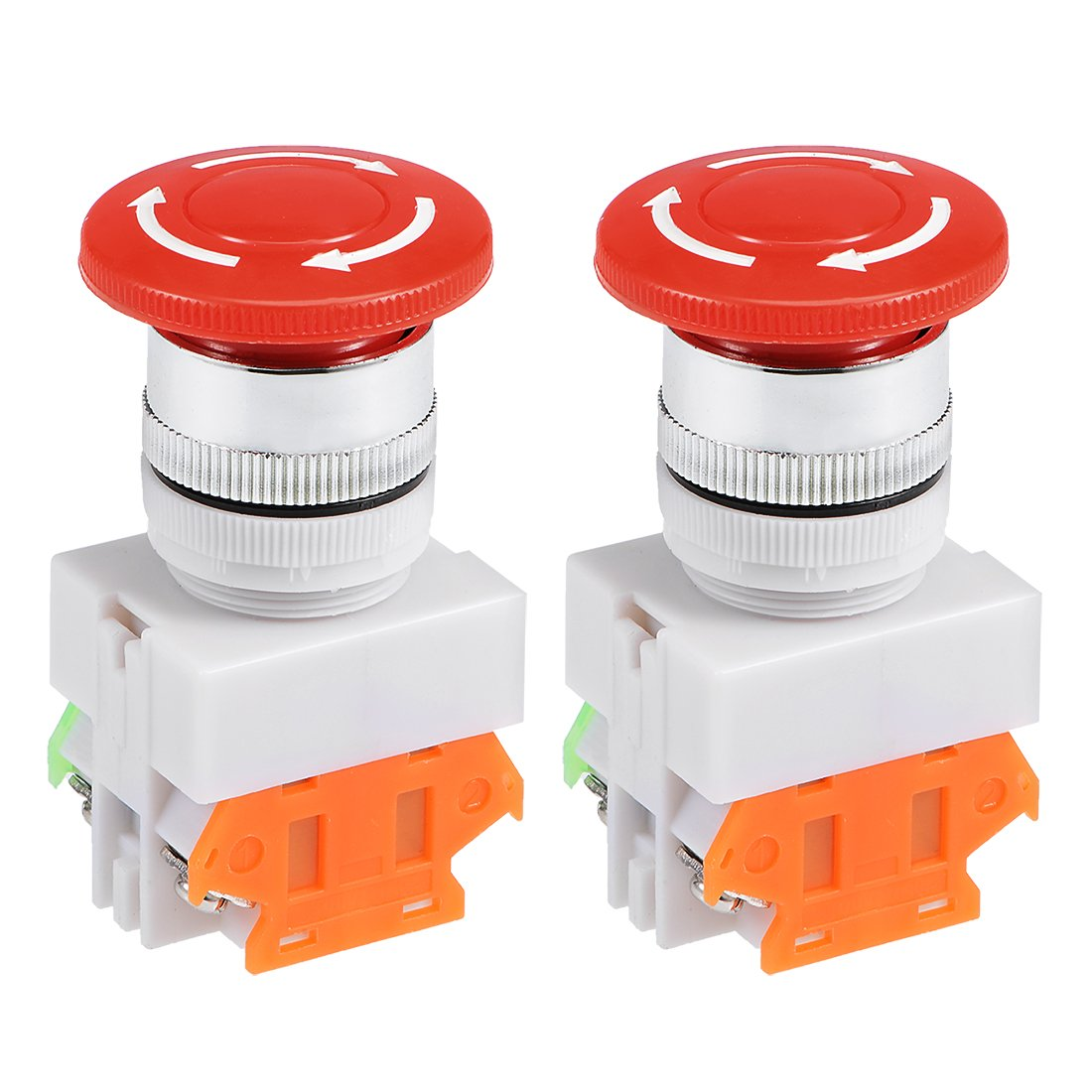 uxcell Latching Emergency Stop Push Button Switch AC 250V 0.5A 16mm Mounting Dia SPDT 1NO 1NC 4P Mushroom Head w warning tag