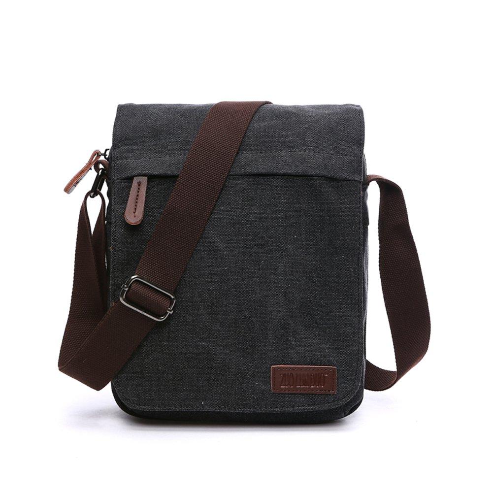 NANJUN Vintage Canvas Messenger Bag Shoulder Bags for Men Women jb007-Black