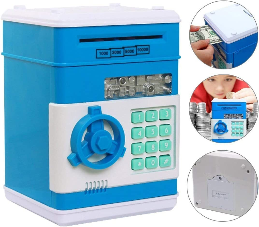Shinetoys Ave 28th Kids Electronic Password Auto Scroll Paper Money Box Safe Piggy Bank (Blue)
