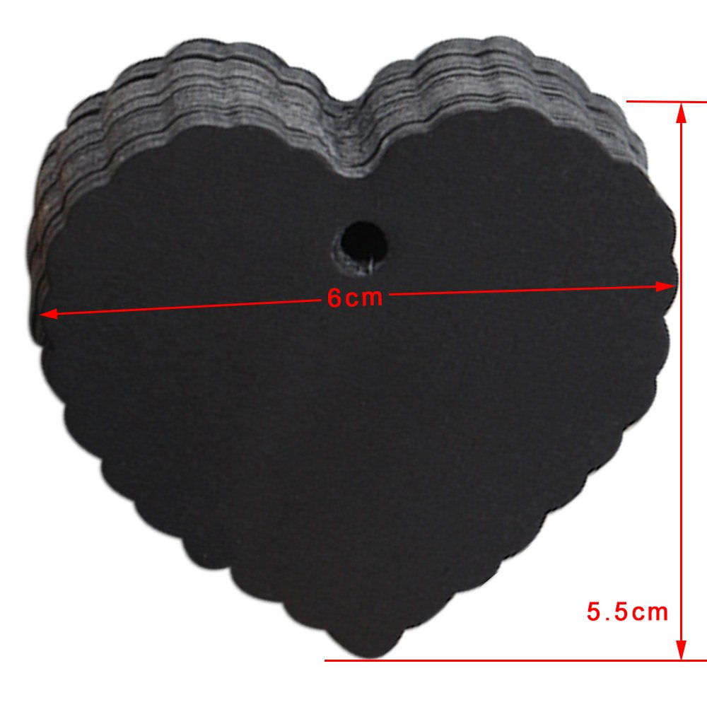 6x5.5cm (2.3x2.1 inch) Retro Kraft Paper Heart Shape Hang Tags Paper Cards DIY Party Gift Cards Blank Tag Label Brown White Black Party Kraft Paper Labels 200 Pcs (Black)