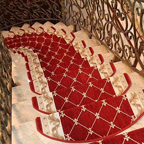 """High-grade Acrylic Sector Grid Bullnose carpet stair treads Stair mats Free tape Stair rugs Stair treads non-slip Stairs carpet Staircase carpet rugs(Set of 15) 9""""W x 25""""L Red (A)"""