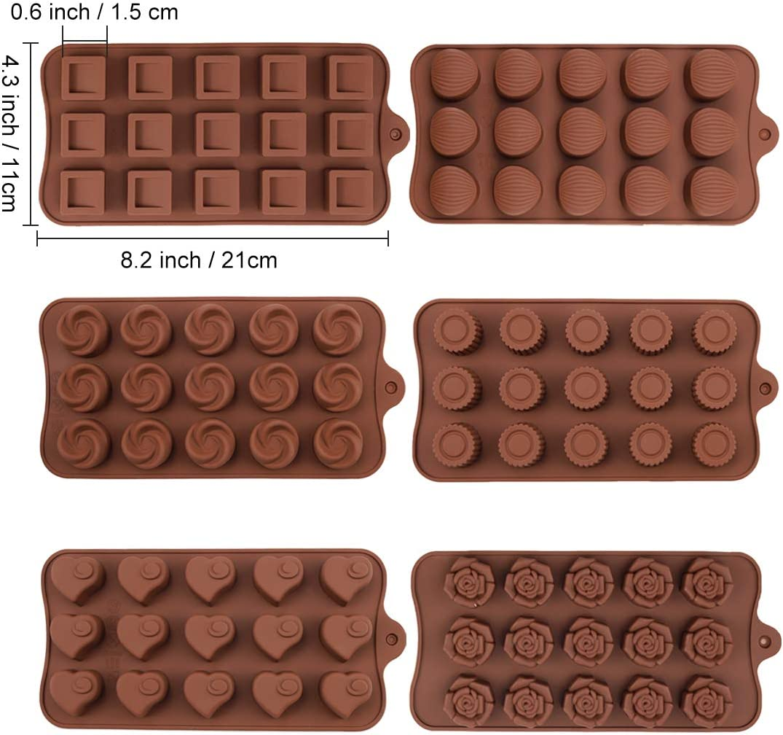 Moldes de Silicona para Caramelos y Chocolates, 6 Pzas de moldes de Silicona antiadherentes de Grado alimenticio,Molde para trufa,Moldes para Hornear