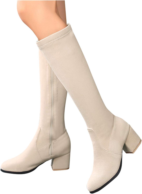 Simayixxch Womens Knee Boots Round Toe High Block Heel Zip Long Boots Suede Winter Warm Snow Boots Elegant Party Booties