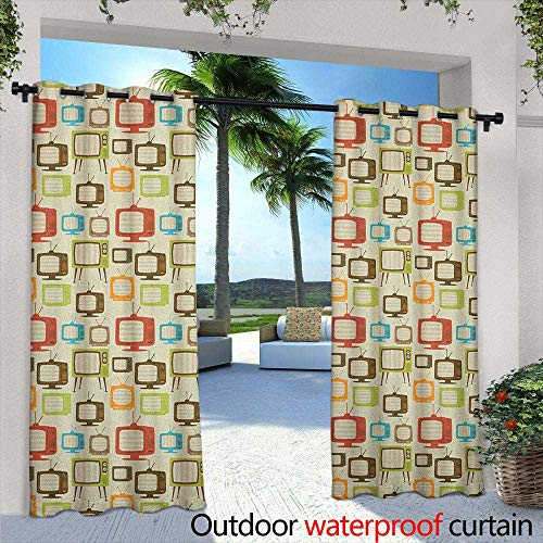 LOVEEO Vintage Indoor/Outdoor Curtains Old Televisions Pattern in Retro Colors Antenna Electronics Entertainment Nostalgic Draft Blocking Draperies 72