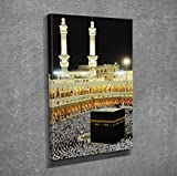 LaModaHome Decorative Canvas Wall Art (12'' x 16'') Wooden Thick Frame Painting Muslim Mecca Arabia Night Pilgrimage People
