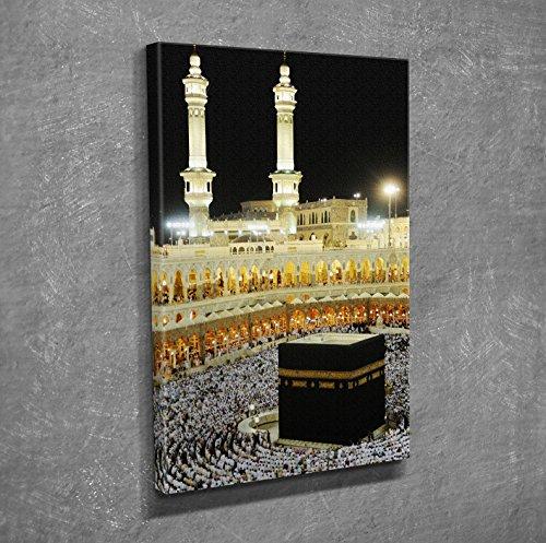 LaModaHome Decorative Canvas Wall Art (12'' x 16'') Wooden Thick Frame Painting Muslim Mecca Arabia Night Pilgrimage People by LaModaHome