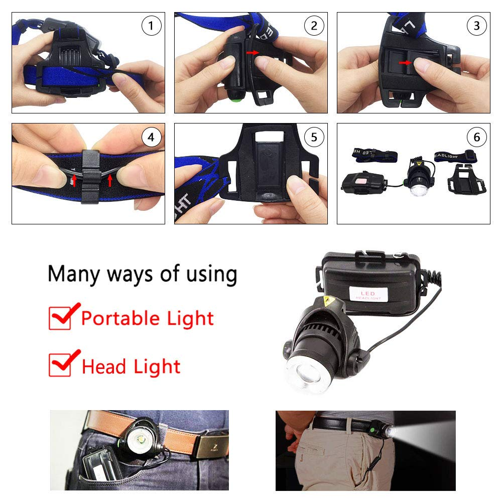 AUKELLY Linternas Frontales LED Recargable LED Linterna Frontale Alta Potencia,LED Linterna Cabeza 3 Modos de luz,Frontale Linterna 1000 Lumen,USB Linterna Frontal para Camping,con 18650 Bater/ías