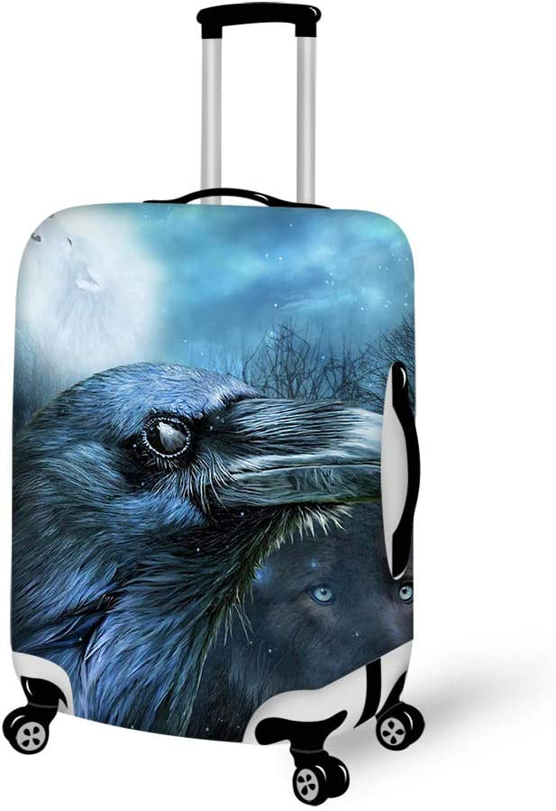 Luggage Cover Raven Wolf In The Moonlight Protective Travel Trunk Case Elastic Luggage Suitcase Protector Cover