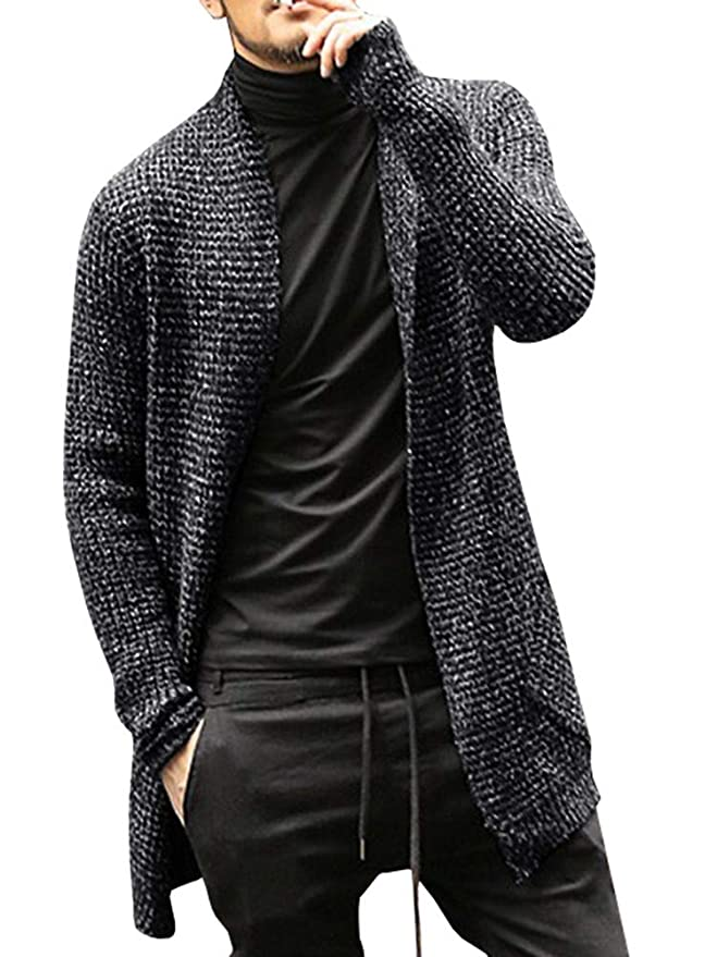 dca8613e708 Pengfei Mens Cardigan Sweaters Open Front Cable Knit Long Sleeve Shawl  Collar Coat Cardigans at Amazon Men s Clothing store